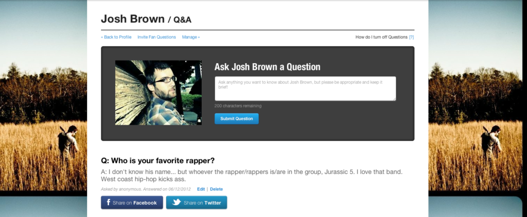 Josh Brown - Questions Page