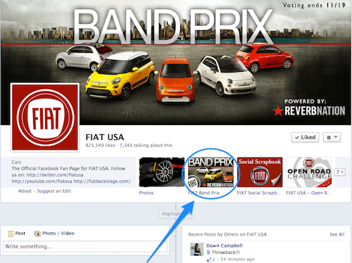 FIAT USA Facebook Page ReverbNation Band Prix